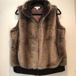 Women's Coldwater Creek Brown Faux Fur Vest